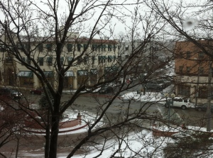 Front of our building (from the stairwell window--sorry, it's the best I could get).