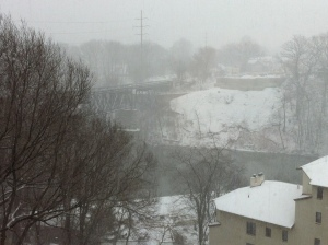 The snow from my window. It's so thick with snow the opposite bank of the river is obscured!