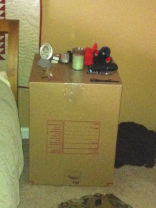 Think the movers will carefully pack the empty box we're still using as a nightstand?