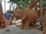 At Nong Nooch Tropical Gardens, an elephant made from ceramic pots!