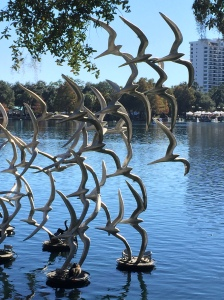 close up of sculpture at Lake Eola Park, Orlando